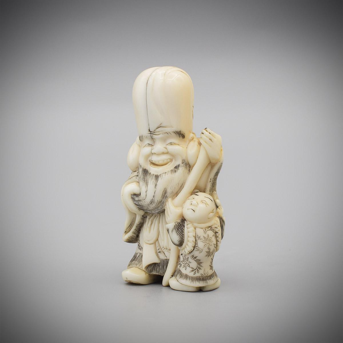 MR3798_v.1, Ivory netsuke of Fukurokuju and child by Masakazu