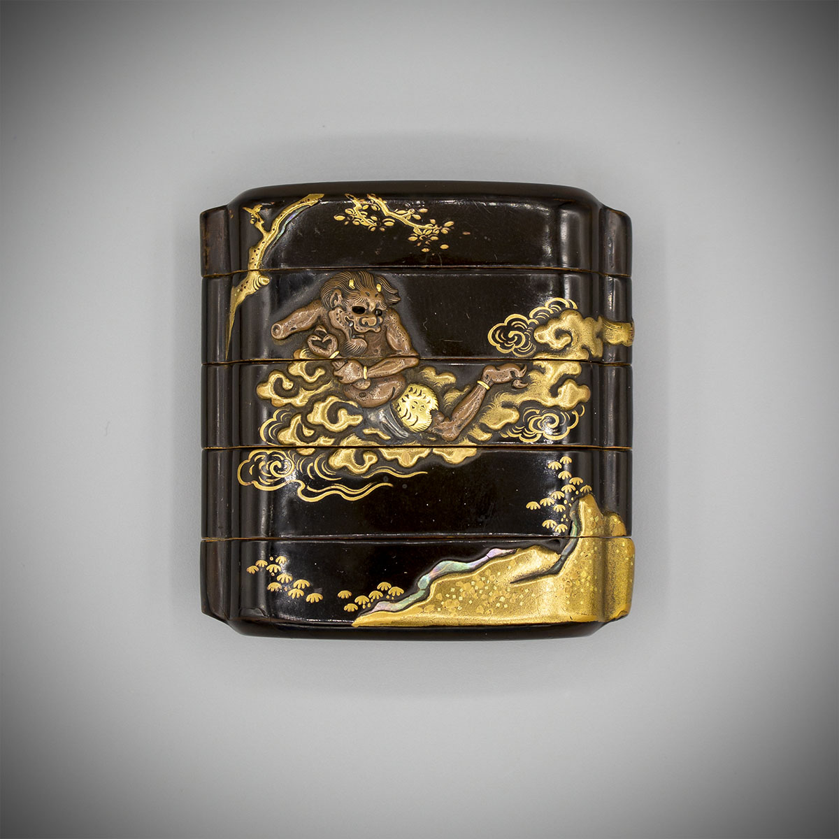 MR3854 Early Metal Inlaid Lacquer Inro recto