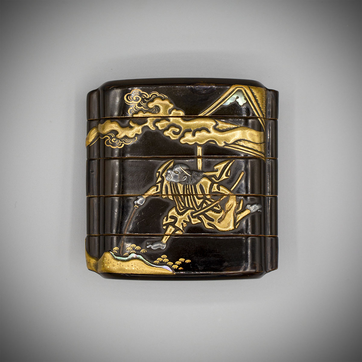 Early Metal Inlaid Lacquer Inro verso