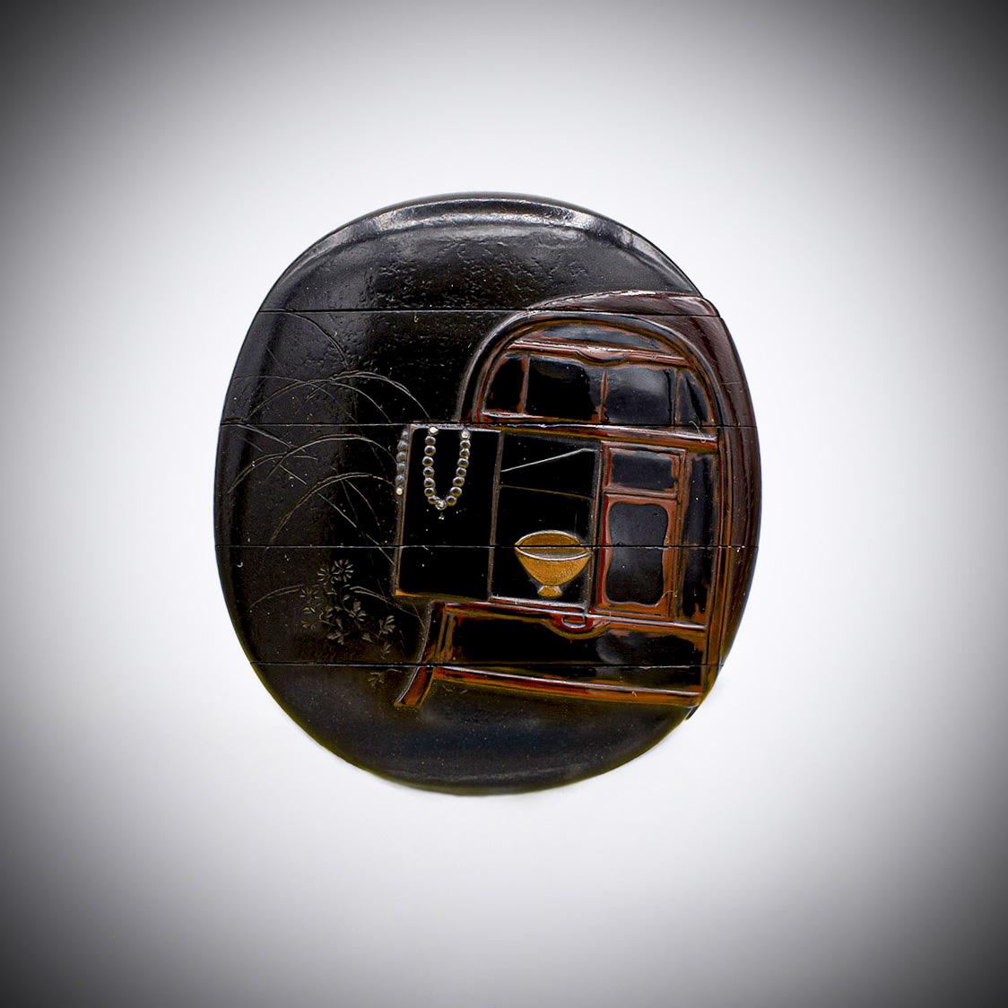 MR3855_v.1-5 A lacquer four case inro by Shibata Zeshin