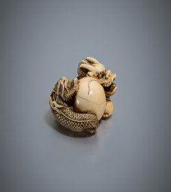 Ivory netsuke of a dragon