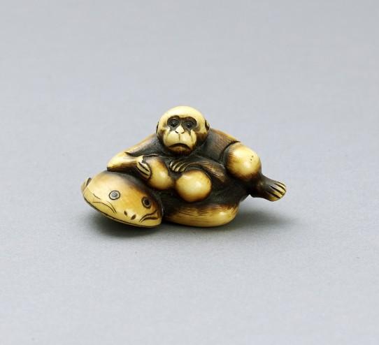 Ivory Netsuke of a Monkey on Namazu