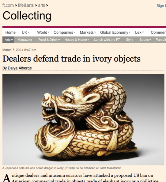 Dealers Defend Trade in Ivory Objects